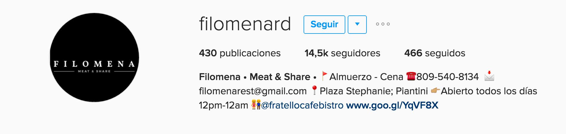 filomena instagram para empresas