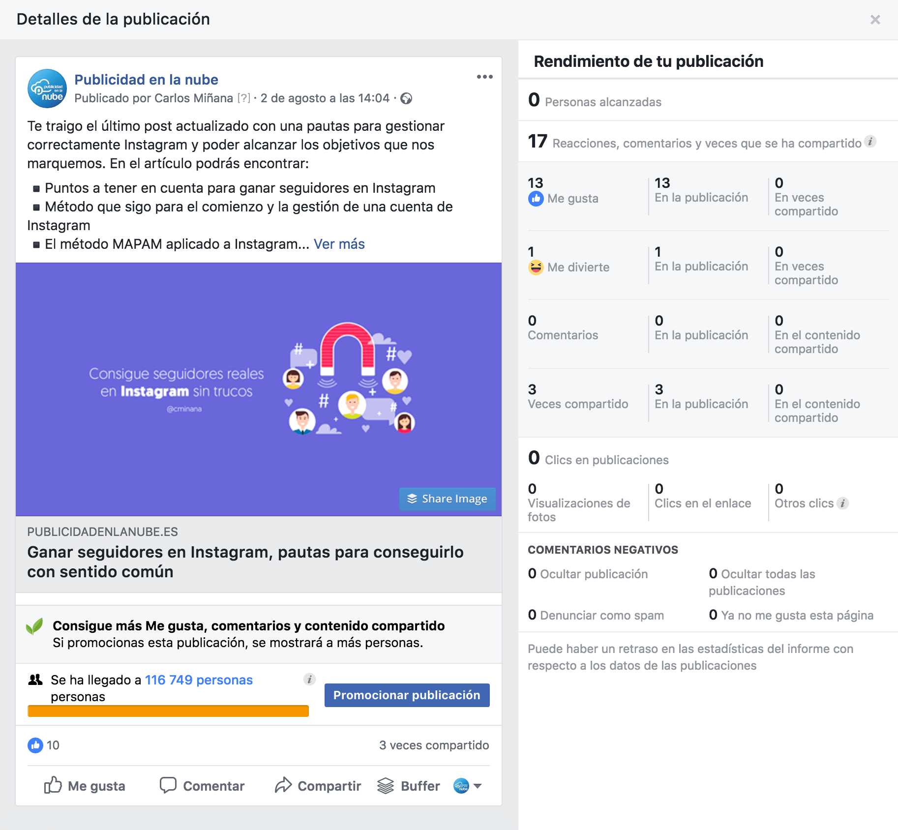 Facebook insights datos