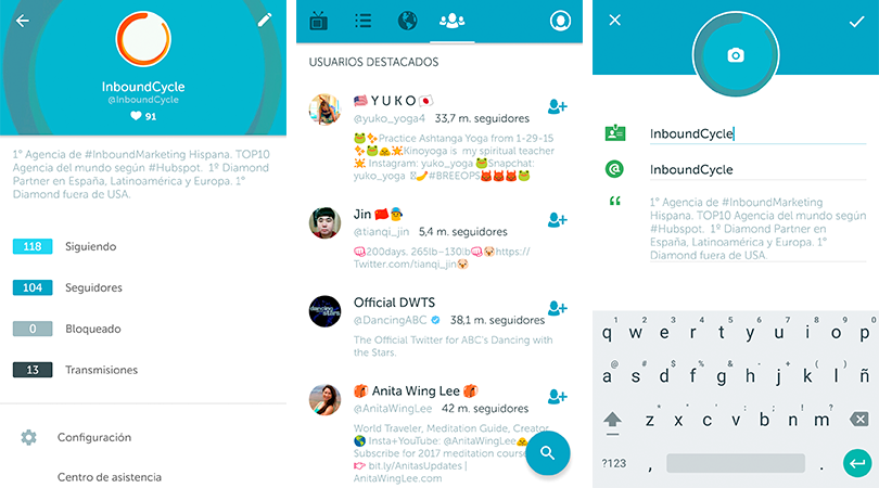 modificar perfil periscope