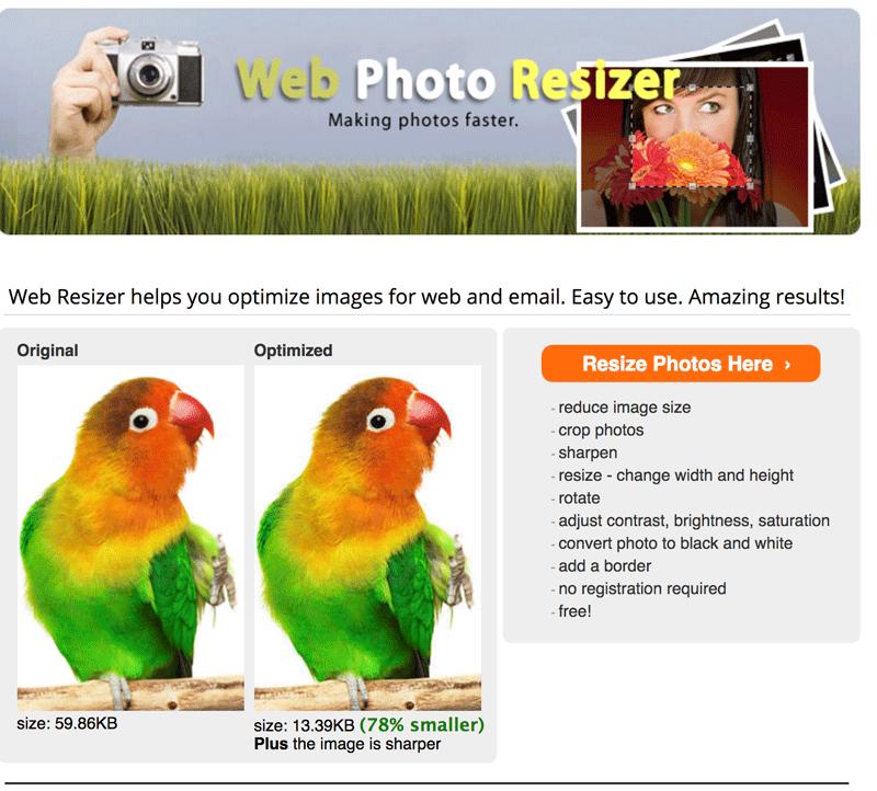 webresizer comprimir fotos